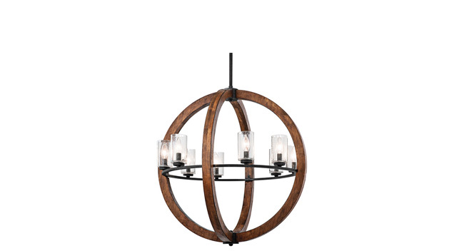 Chandelier brings wood and glass together