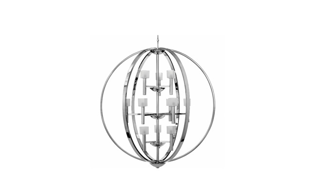 Chandelier brings squares and spheres together for a unique design