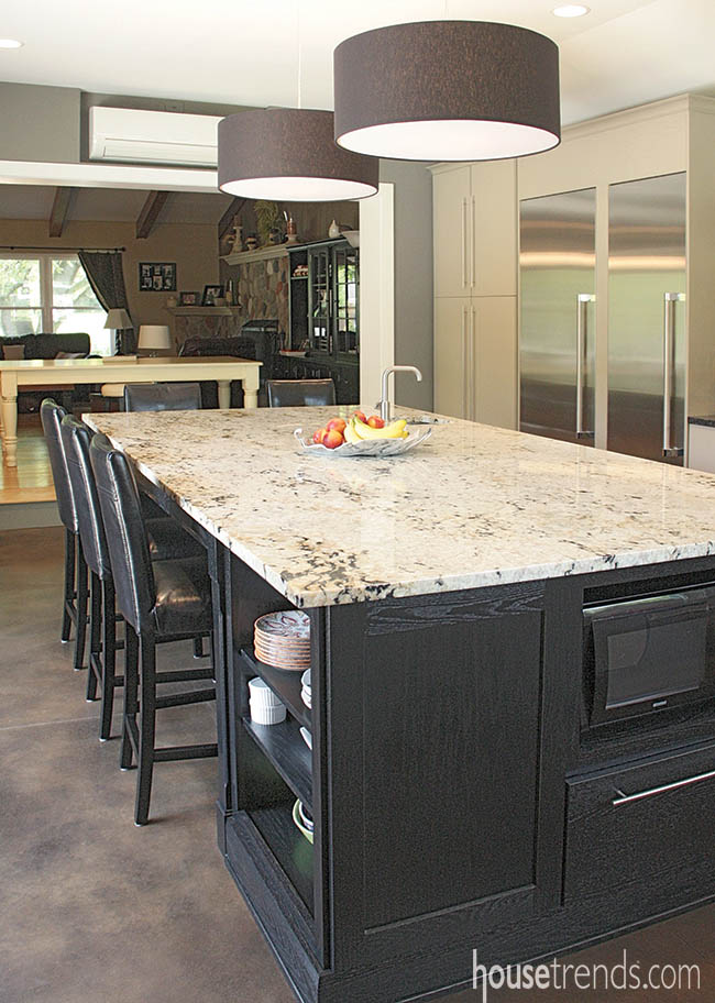 Kitchen countertops and cabinets create a calming atmosphere