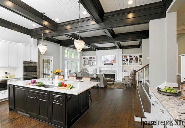 Ceiling beams complement the kitchen island