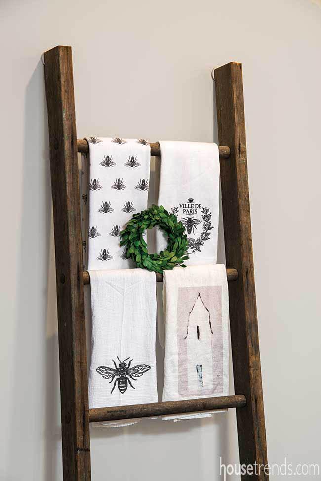 Wooden ladder serves an unothodox purpose