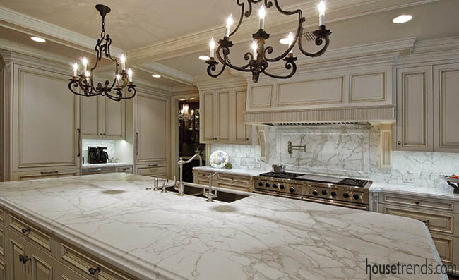 Light fixtures add elegance to a kitchen island