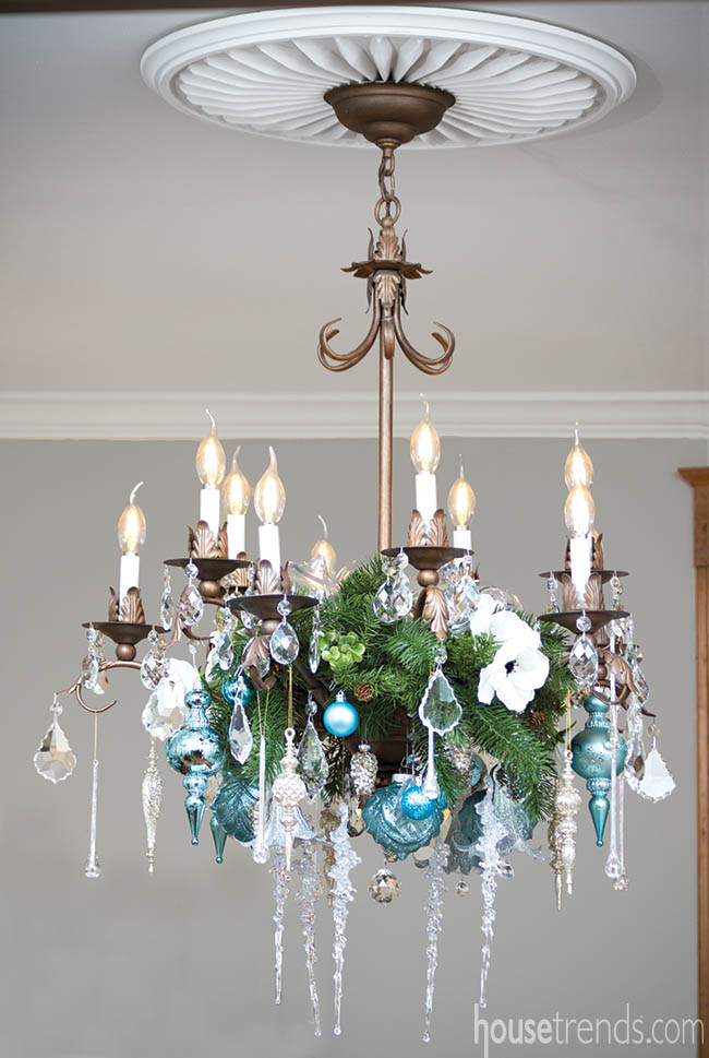 Chandelier decked out for the holidays
