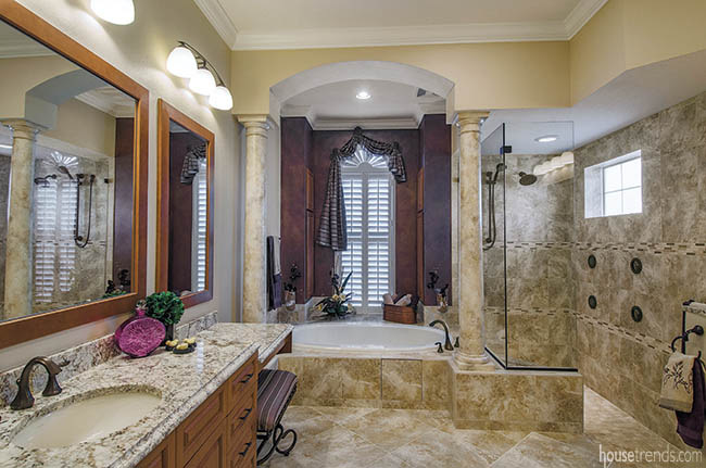 Oval bathtub steals the spotlight