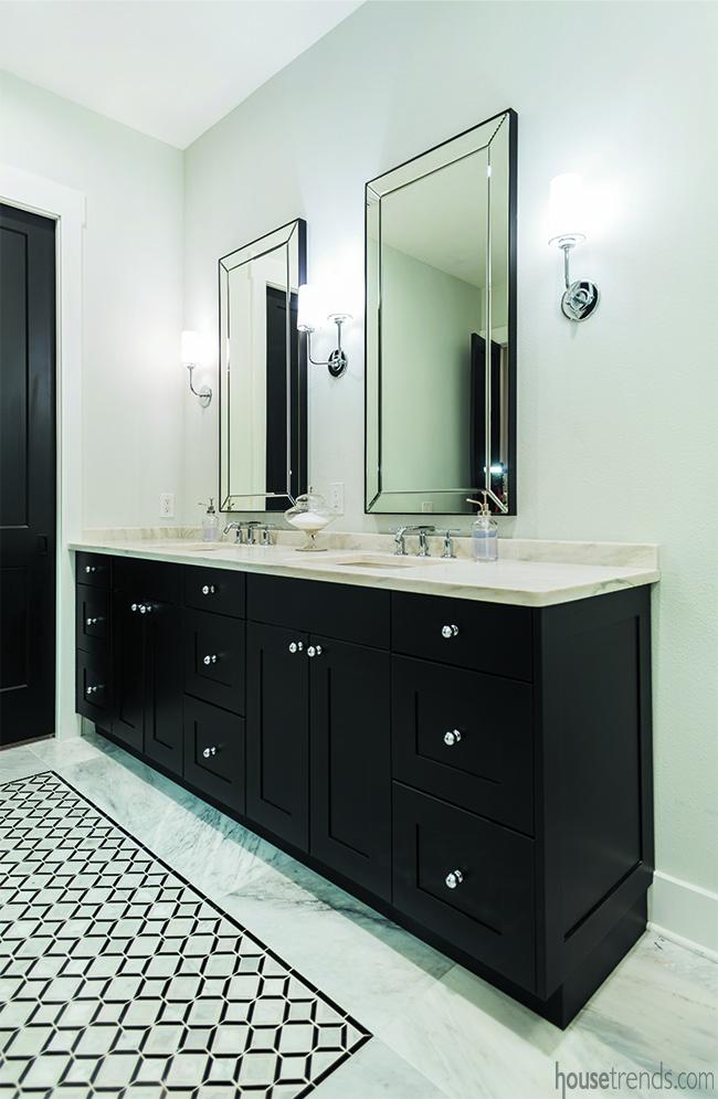 Black vanity in a master bathroom