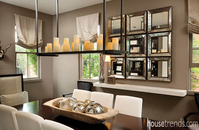 Rectangular chandelier complements a dining room table