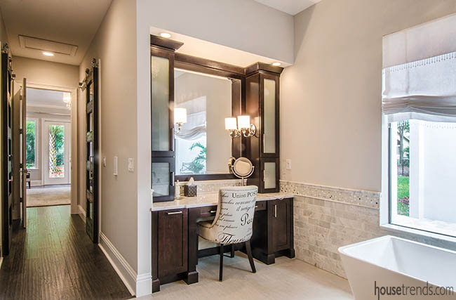 Bathroom ideas, such as makeup counters, are popular in master bathrooms
