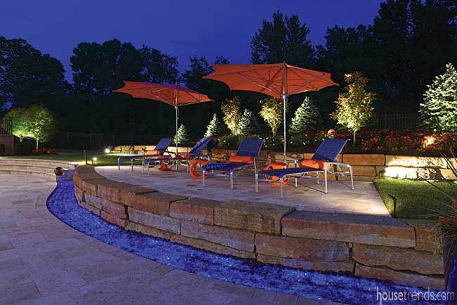 Landscape sparkles with LED lighting