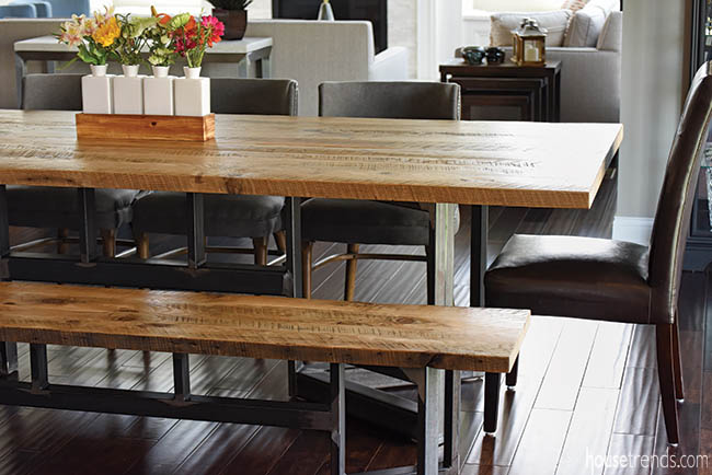 Kitchen table made of salvaged wood