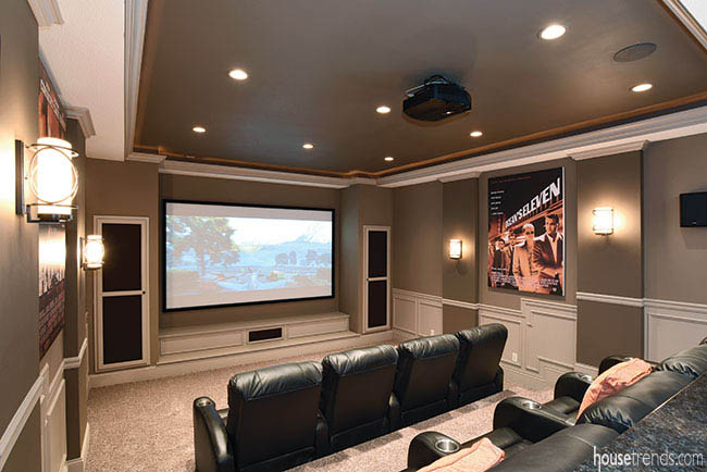 Home theater gets a soothing color scheme