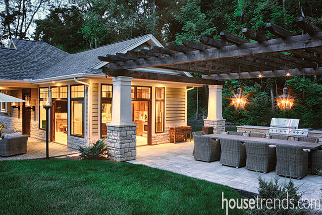 Paver patio serves as a natural gathering point