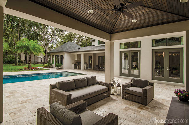 Comfortable outdoor furniture can transform a covered patio into a second living room