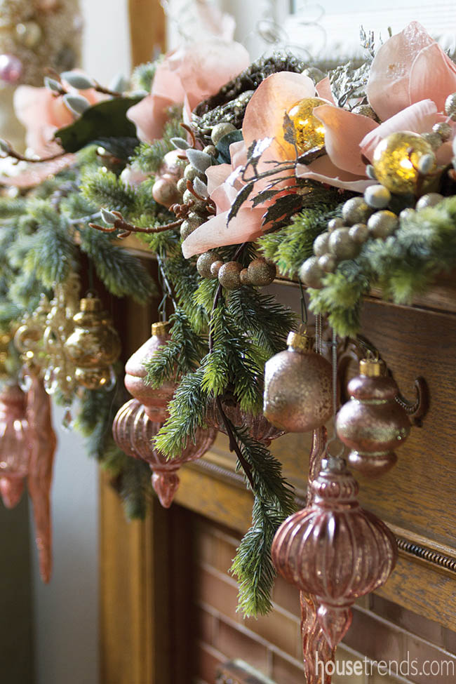 Holiday decorations dress up a master bedroom