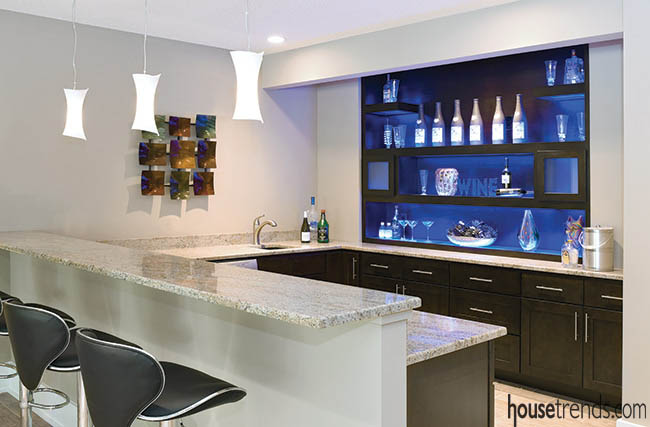 Home wine bar offers plenty of storage space