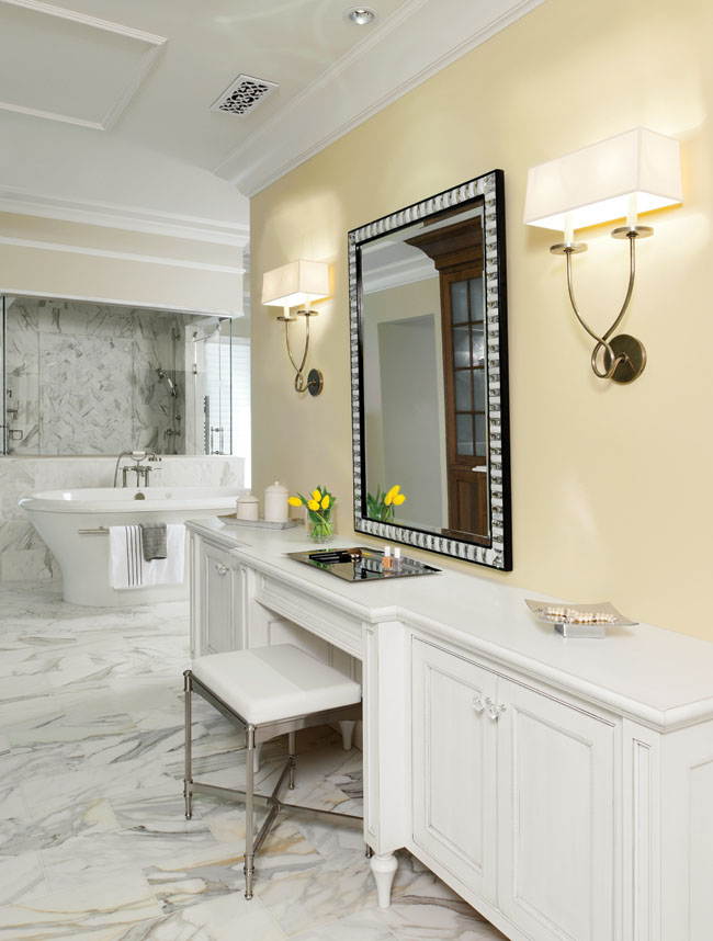 Vanity stool gives an elegant, homey touch to this bathroom