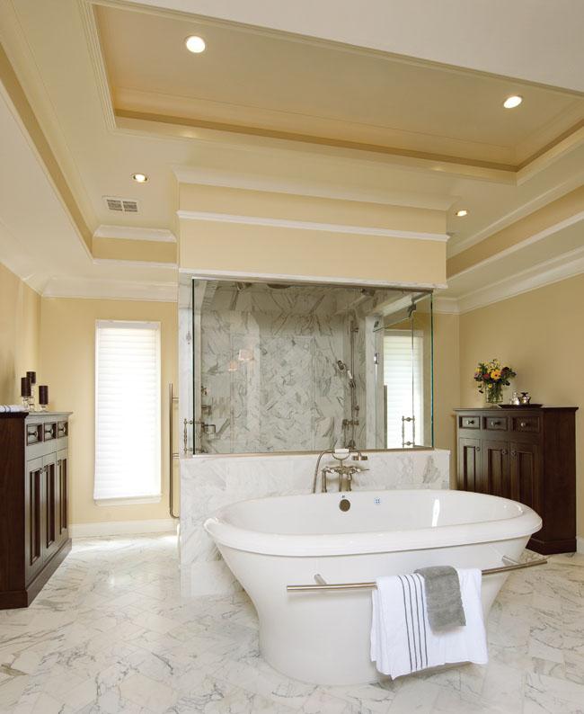 Freestanding bathtub gives off an old-world elegance