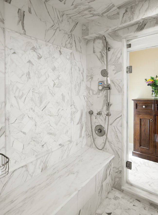 Bathroom remodel makes good use of marble