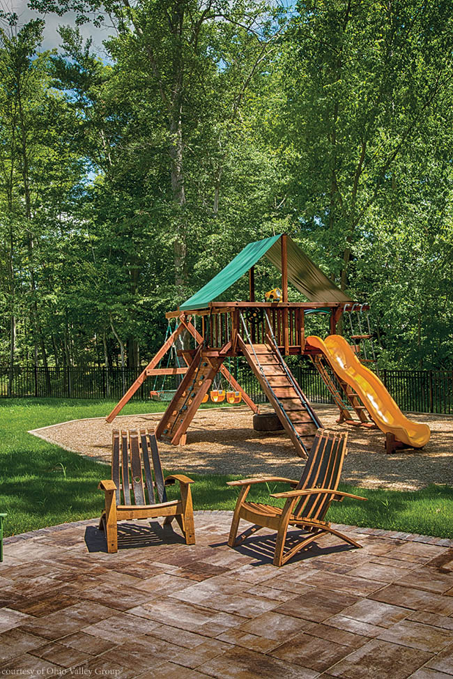 Playset within sight of patio