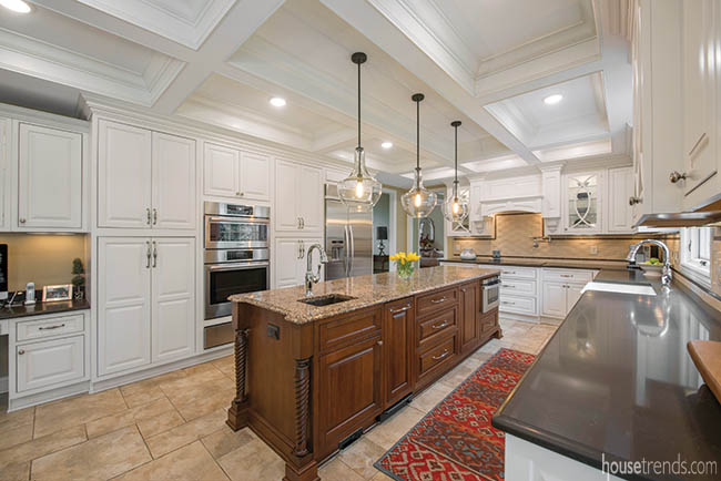 Kitchen island features a microwave drawer