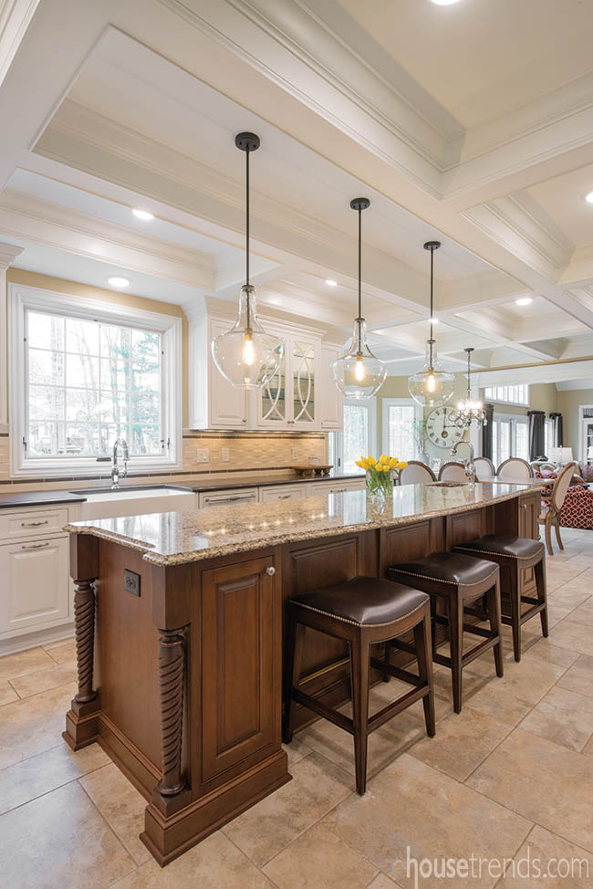 Remodeled kitchen with soaring ceilings