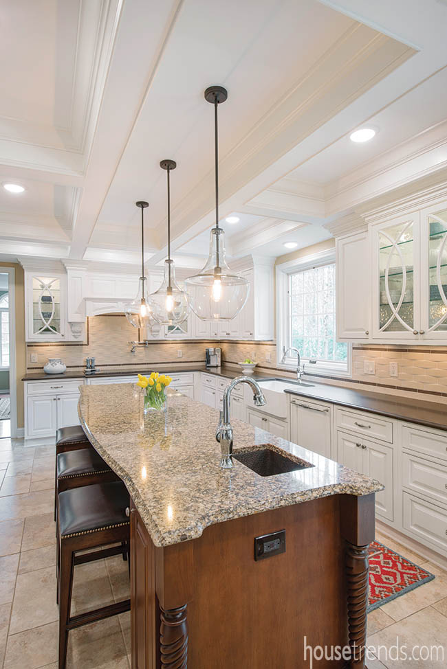 Kitchen island with a convenient electrical outlet