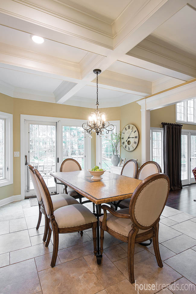 Kitchen design flows into a dining room table