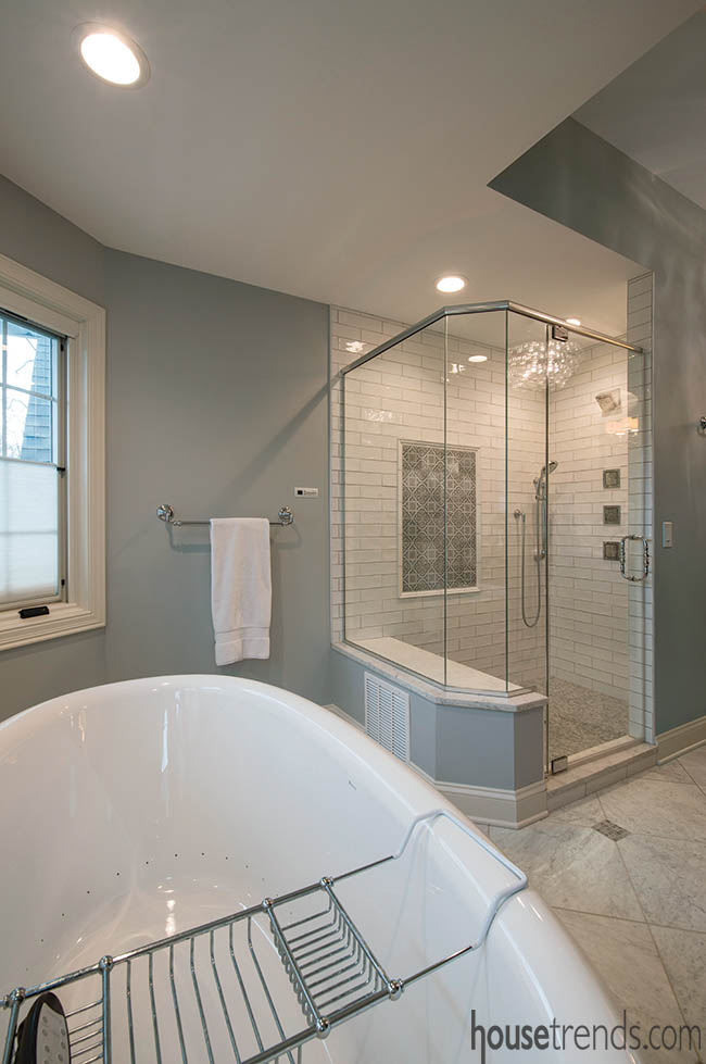 Tile adds a pop of personality to a white shower
