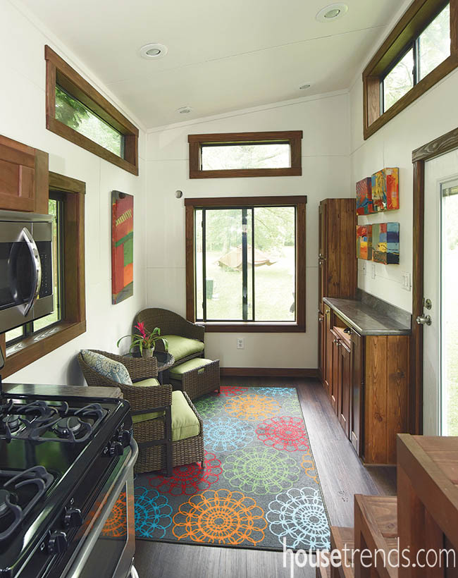 Area rug brightens up a tiny home