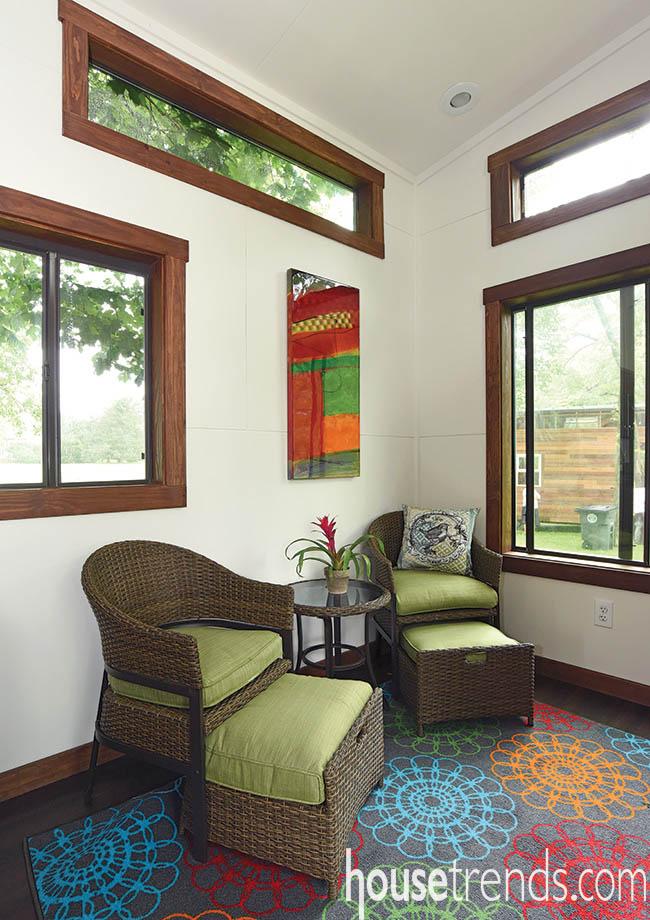 House windows light up a living room