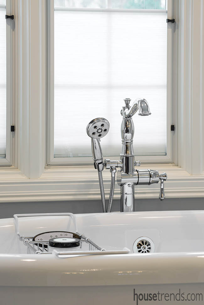 Soaking tub with a floor-mount tub filler