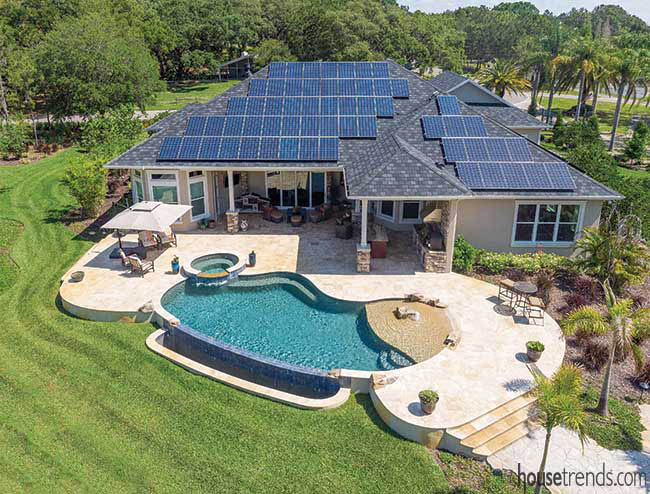 Solar panels supply energy for a home