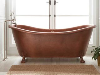 Isabella Hammered Copper Double-Slipper Tub from Signature Hardware