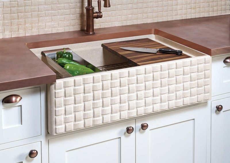Stone Forest Basketweave farmhouse sink