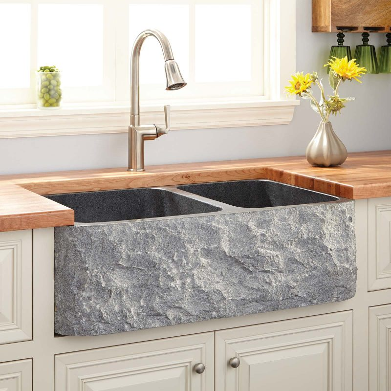 Signature Hardware polished granite farmhouse sink
