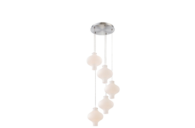 Curved light fixture mixes two styles