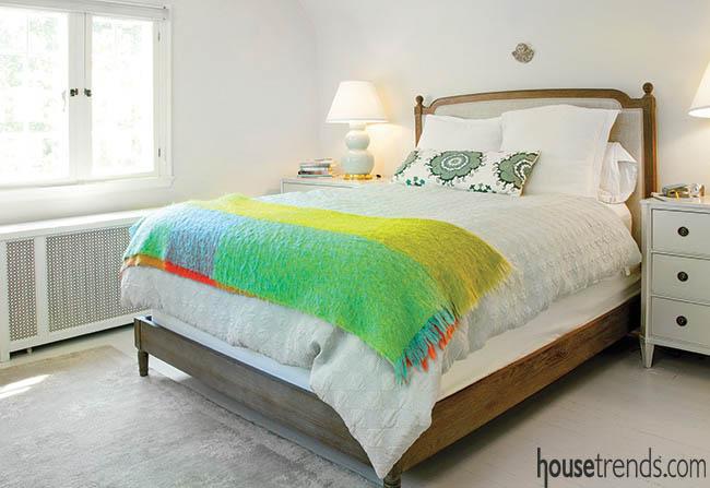 Accessories jazz up a bedroom design
