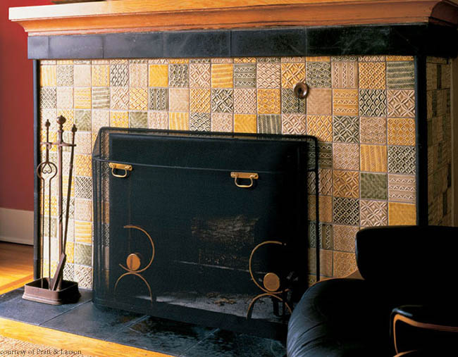 Tile adds texture to a fireplace surround