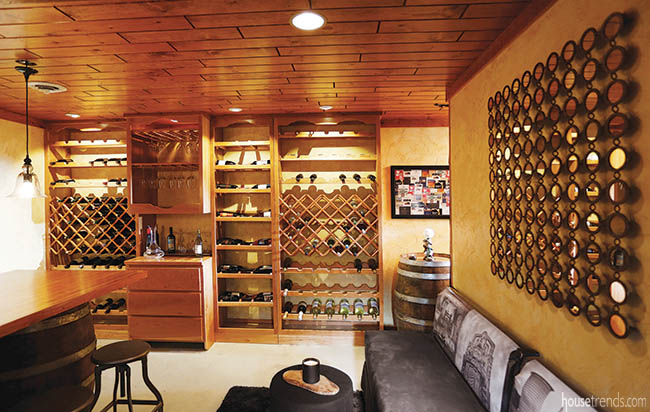 Mirrors add a sparkle to a wine room