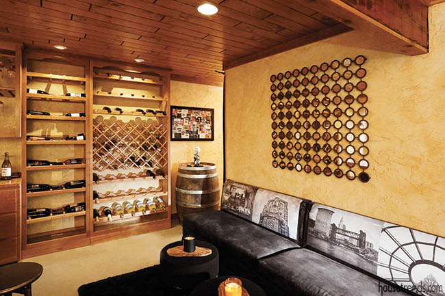 Couches offer extra seating in a wine room