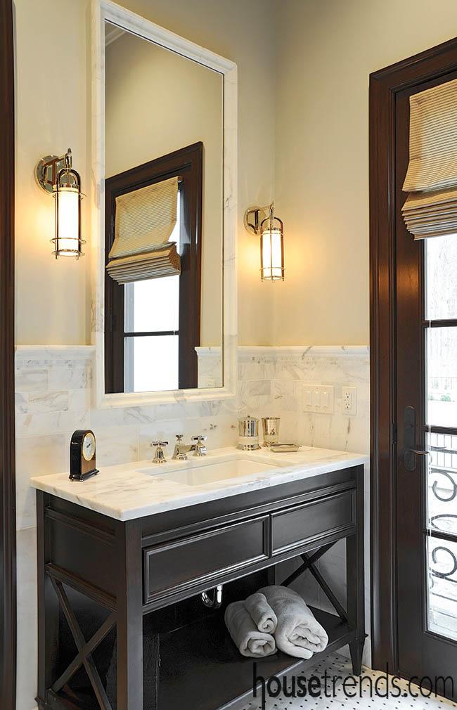 Clean lines create a masculine powder room design