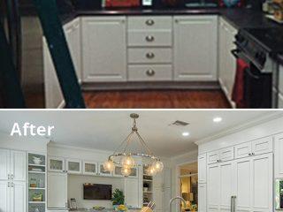 Custom cabinet panels hide kitchen appliances