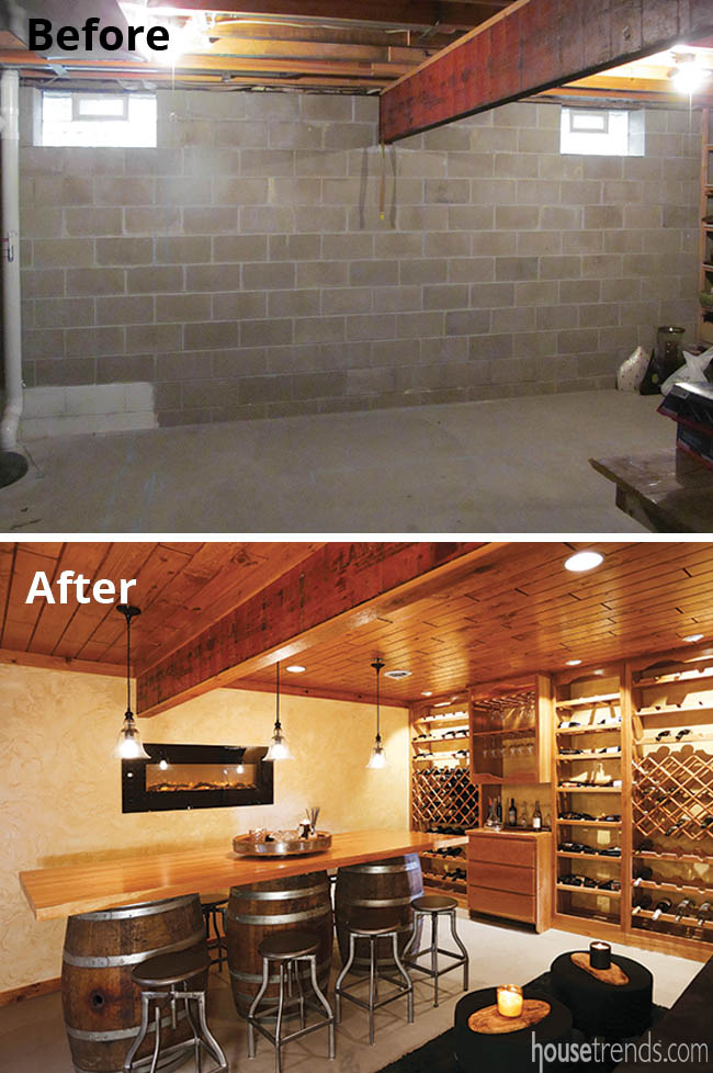 Remodelers transform their basement into a wine room