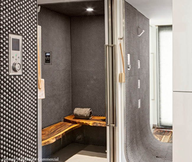 Bathroom tile adds dramatic texture