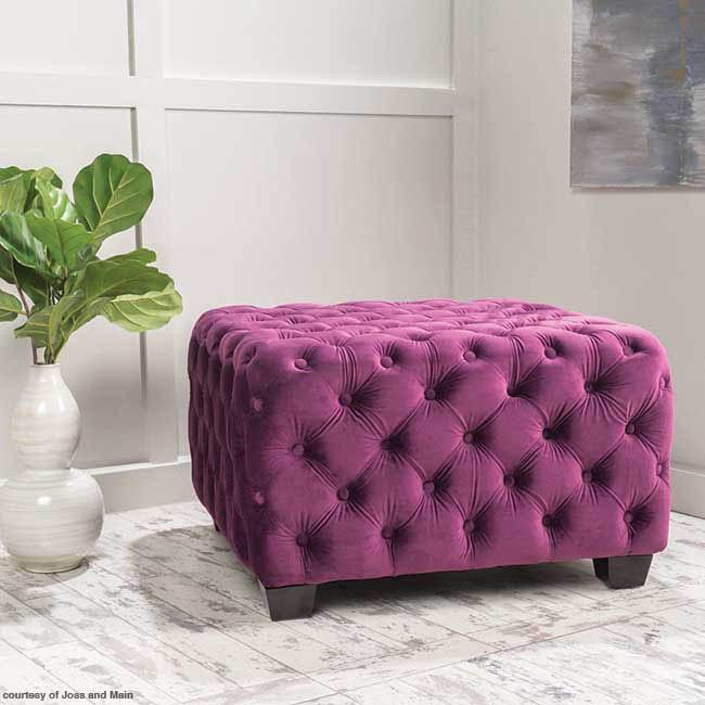 Velvet ottoman for any style room