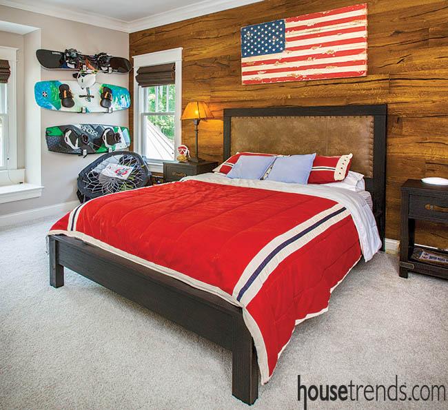 Bedroom design sports reclaimed barn siding