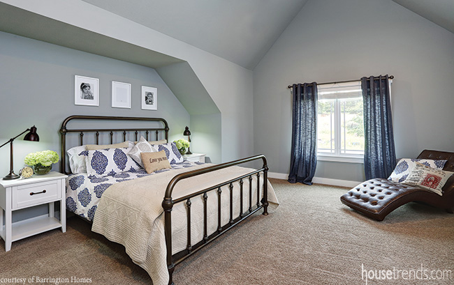 Window treatments complement nearby bedding