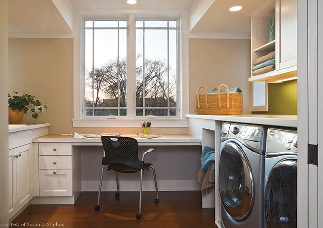 Laundry room includes a work station