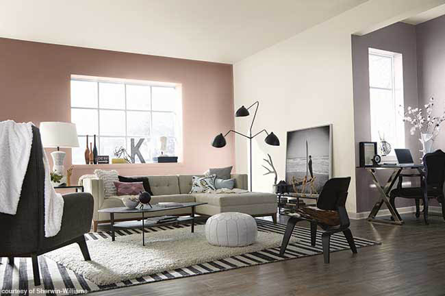Wall color complements a living room