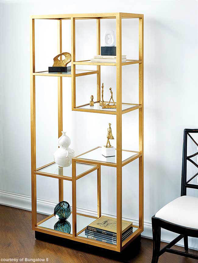 Mirror insets add sparkle to a bookshelf