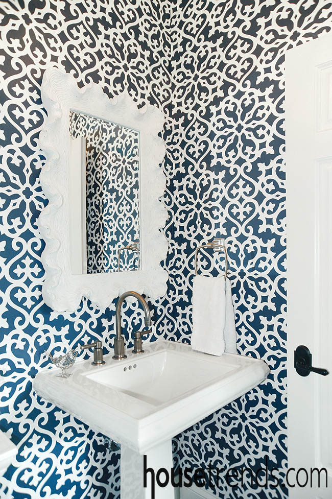 Wallpaper helps a bathroom design stand out